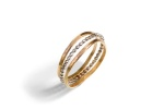 Wedding Bands: 14K white gold and 14K yellow gold