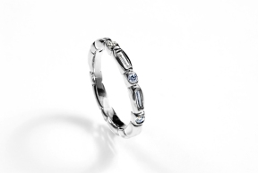 Modified Asteroid Anniversary Band: 14K white gold with diamonds